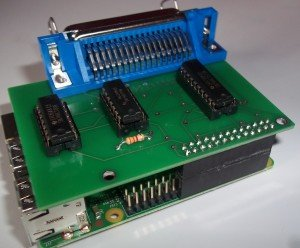 The Retro-Printer Module connected to the Raspberry Pi